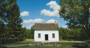 Country House White with Chimney Picket Fence Blue Sky Puffy Clouds